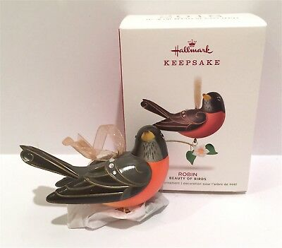 New In Box 2018 Hallmark The Beauty Of Birds Series Ornament 14Th Robin Brown
