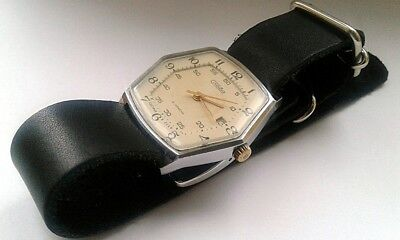 Vintage Slava Glory USSR Russian Soviet Mens Watch new leather stra