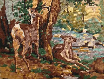 Completed Petit point needlepoint Deer at the Stream Plaisir-Fontaine courbet