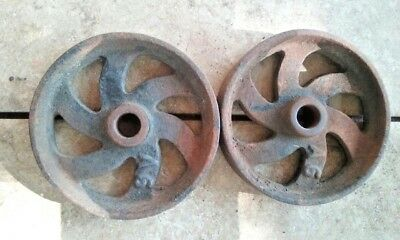 Antique Vintage Steel Wheels 1 pair Industrial  Farm Decor & Gloves  LAST ONE