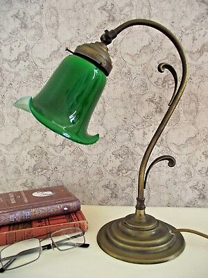 Super Antique French Brass Goose Neck Lamp With Stunning Green Glass Shade 750