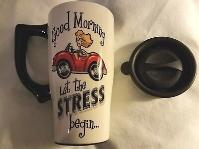 Good Morning Let The Stress Begin Ceramic Commuter Travel Coffee Mug Lid