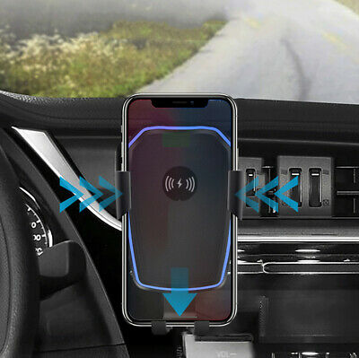 10W Qi Wireless Fast Car Charger Stand Air Vent Auto Holder Mount for iPhone X 8