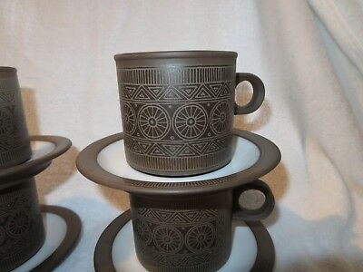 Hornsea Pottery 1976 Palatine 4 X Large Mugs / Cups And Saucers  - Contrast