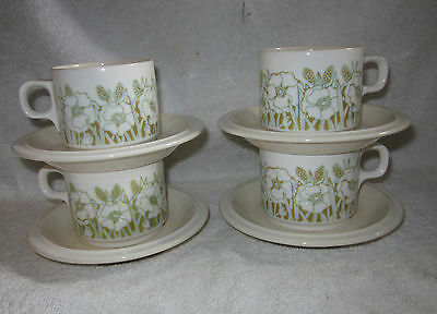 4 x HORNSEA FLEUR CUPS AND SAUCERS
