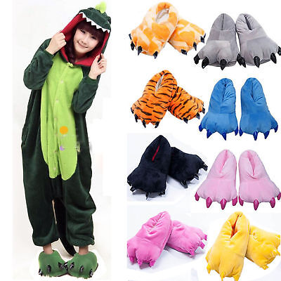 Adult Kids Unisex Cartoon Animal Shoes Dinosaur Monster Claw Paw Indoor Slippers