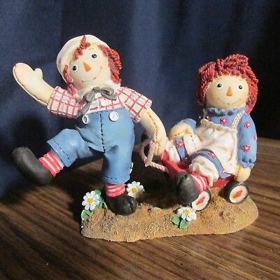 """Raggedy Ann and Andy """"BUMPY ROADS ARE EASIER WHEN YOU ARE HAPPY,,,""""   Enesco  ❤️"""