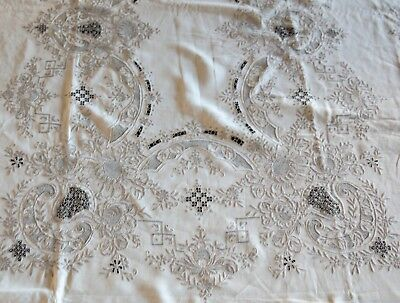 "Fabulous Antique Madeira Tablecloth with Cutwork and Reticella 116.75"" x 66.5"""