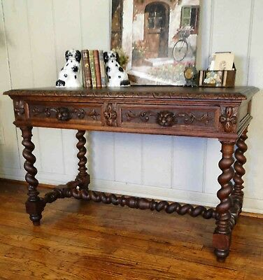 Antique French Carved Oak Barley BARLEY TWIST  DESK Hall Entry Table Library