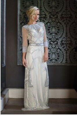 Celeste by Vicky Rowe Art Nouveau / Deco Style Stunning Beaded Wedding Gown