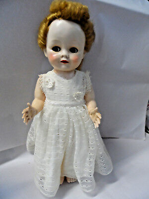 "Pretty 16"" Hard Plastic Pedigree walking doll Made in England needs restoration"
