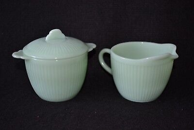 Vintage Fire King Jadeite Sugar Bowl with Lid and Creamer Set Jane Ray Pattern