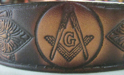 "Masonic Tooled Brown Leather Belt, 52"" x 1 3/8, Very Good Condition"