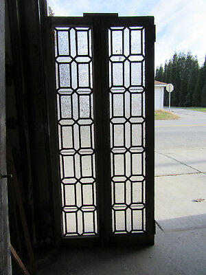 ~ Pair Antique Stained Glass Cabinet Doors ~ 28 X 62 ~ Architectural Salvage ~