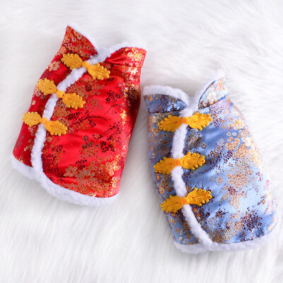 New Year Dog Clothes Winter Chinese Tang Suit Pet Cat Jacket Puppy Coat Costume