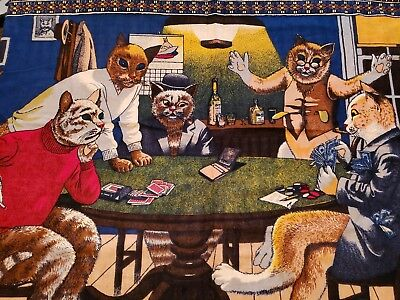 "Vintage Cats Playing Cards Poker Tapestry Wall Hanging Made in Turkey 57"" x 37"""
