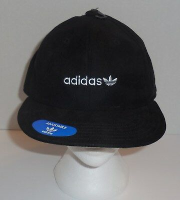5fce081e8cf Adidas Originals Relaxed Flatbrim Hat Mens Black White Cap Trefoil New OSFM