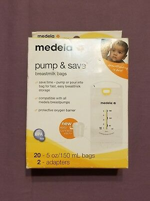 Medela Pump & Save Breastmilk Storage Bags 20 ct with 2 Easy Connect Adapters