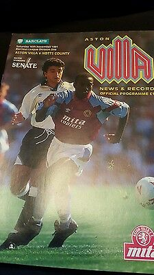 ASTON VILLA v NOTTS COUNTY 16/11/91
