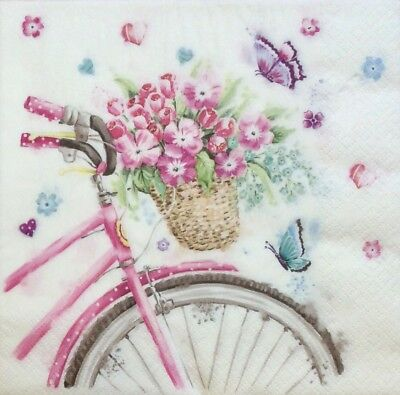 3 Paper Napkins for Decoupage / Parties / Weddings - Bicycle