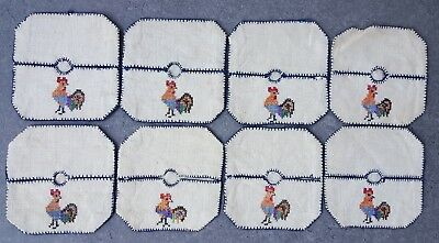 Set of 8 Vintage Wine Glass Coasters Cross Stitch Rooster on Linen VTG Square