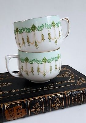 2 Arts & Crafts Era Art Nouveau Tea Coffee Cups Vintage Antique Brugmansia