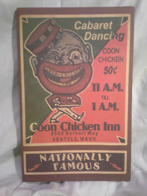 "Black Americana Memorabilia- Cute ""chicken Inn"" Seattle Wa Menu, Repoduction"