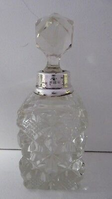 Antique Sterling Silver Pressed Glass Dressing Table Scent Perfume Bottle