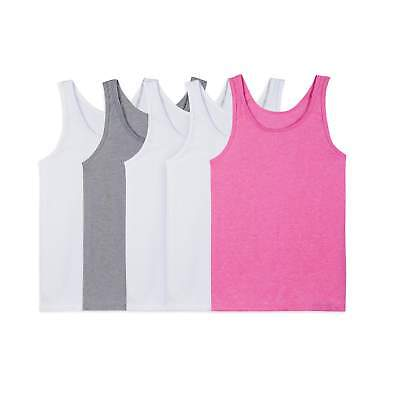 Fruit of the Loom Girl's 5 Pack Tanks NEW Various Sizes Pink White Grey