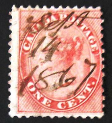 Canada #14 Used-Hand Pen Cancel-2018 SCV=$90.00-Free Shipping