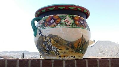 LARGE HAND PAINTED POT by RAMON LERMA ~ EL PASO, TEXAS * BEAUTIFUL INDIO DELUXE