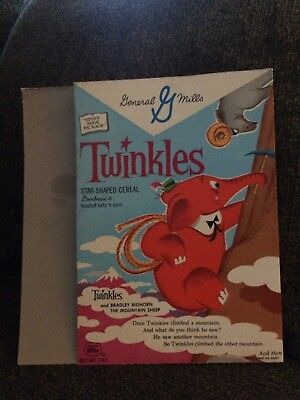 Vintage General Mills ~ Twinkles Cereal Box Front, Back ~ Bradley The Bighorn