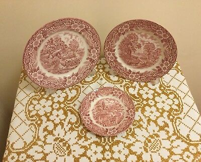 1970's Broadhurst Ironstone Constable Series (pink) Plate Trio