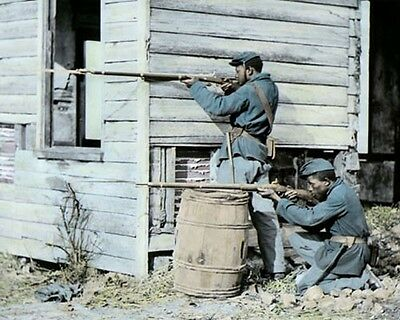 "TWO AFRICAN AMERICAN SOLDIERS 1864 CIVIL WAR 8x10"" HAND COLOR TINTED PHOTOGRAPH"