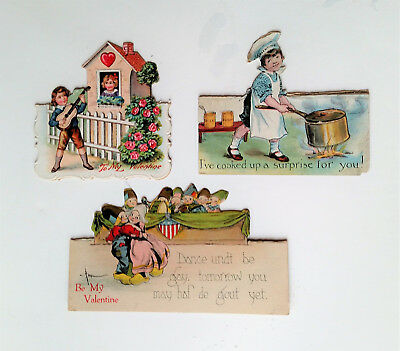 Vintage Lot of 3 Folding and Stand Up Valentine Cards