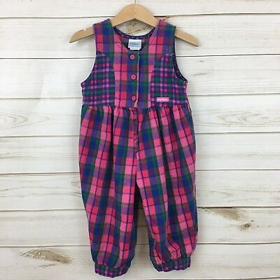 RARE Vintage Oshkosh Baby Girl Pink/Blue Plaid Flannel One Piece. 18M. USA