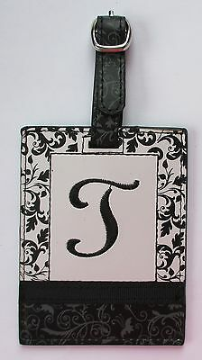 J T INITIAL LUGGAGE TAG bag ID suitcase vegan letter NWT travel accessory Ganz