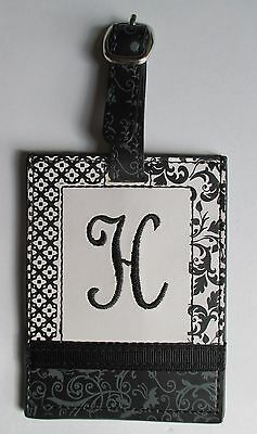 J H INITIAL LUGGAGE TAG bag ID suitcase vegan letter NWT travel accessory ganz