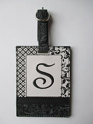 J S INITIAL LUGGAGE TAG bag ID suitcase vegan letter NWT travel accessory ganz