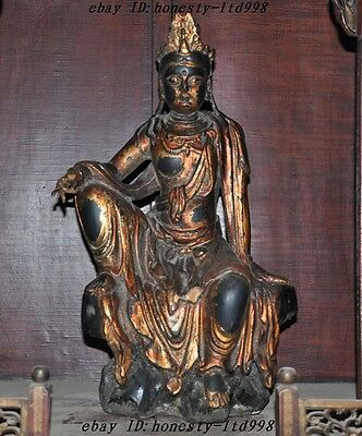 China Lacquerware Old wood Hand carved freedom Kwan-yin GuanYin goddess statue