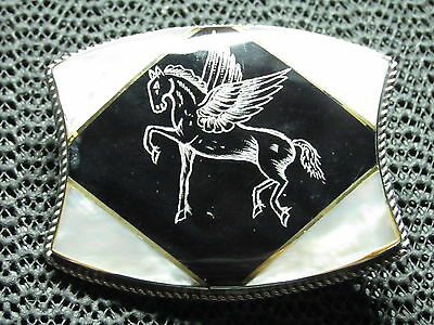 Pegasus Belt Buckle! Vintage! Very Rare! Hand Made! Mother Of Pearl / Black Onyx