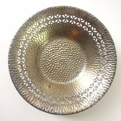Antique E & JB Empire Art Silver Metal Footed Candy Dish Silverplate