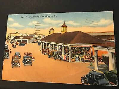 New French Market New Orleans Louisiana LA Old Cars Vintage Postcard