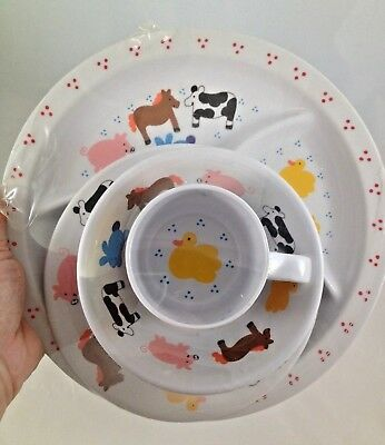 LVC 1991 4 pc Child Plates Bowl Cup Farm Pig Horse Duck Cow Bunny Brand NEW