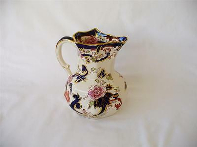 Vintage Flow Blue Masons  Mandalay  - Ironstone Jug With Caterpillar Handle