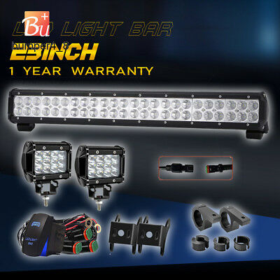 23inch 144W CREE LED Work Light Bar Spot Flood Offroad For SUV Truck+2X 4'' Pods