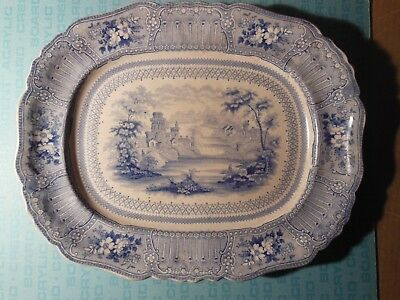 English Staffordshire blue transferware platter, c1840, Cologne pattern, 15.5""