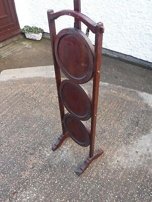 Small  Vintage  Wooden  Folding  Cake  Stand.