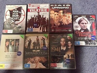 WW2 DVD Movies, Bulk Lot X7, Pre-Owned Ex-rental, Valkyrie Anne Frank Uprising.