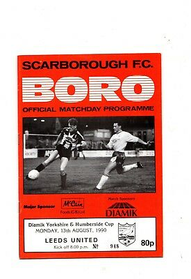1990 - 1991  Scarborough v Leeds United              Yorkshire & Humberside Cup